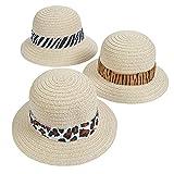 Fun Express Adult Pith Safari Hats with Animal Print Band (Set of 12) Straw Party Hats