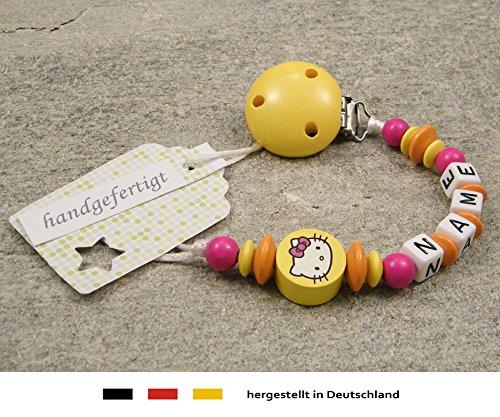 kleinerStorch Baby SCHNULLERKETTE mit Namen - Schnullerhalter mit Wunschnamen - Mädchen Motiv Hello Kitty in gelb, orange