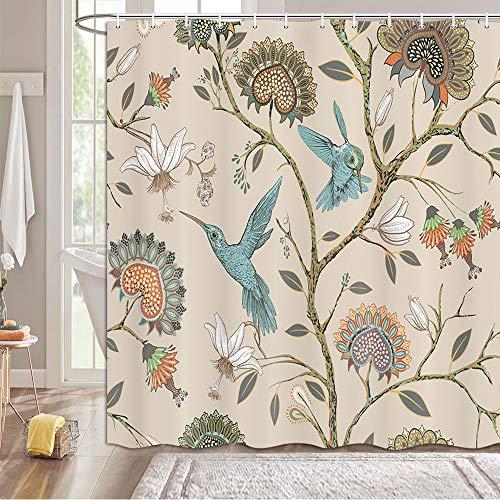 MERCHR Khaki Floral Pattern Shower Curtain, Modern Bohemian Style Flower Blue Birds Print Bathroom Shower Curtain, Elegant Lovely Flowers Animal Print Bathtub Curtain with Hooks 69x70