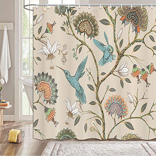 MERCHR Khaki Floral Pattern Shower Curtain, Modern Bohemian Style Flower Blue Birds Print Bathroom Shower Curtain, Elegant Lovely Flowers Animal Print Bathtub Curtain with Hooks 69x70