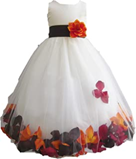 HMF Ivory Orange Burgundy Brown Flower Girl Dress with Loose Fall Colors Petal