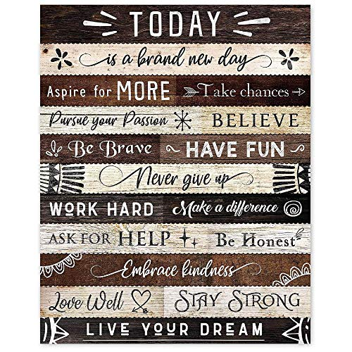 Today Is a Brand New Day Inspirational Quotes Poster Prints, Set of 1 (8x10) Unframed Photo, Wall Art Decor Gifts Under 15 for Home, Office, School, Kitchen, Bathroom, Living Room, Zen
