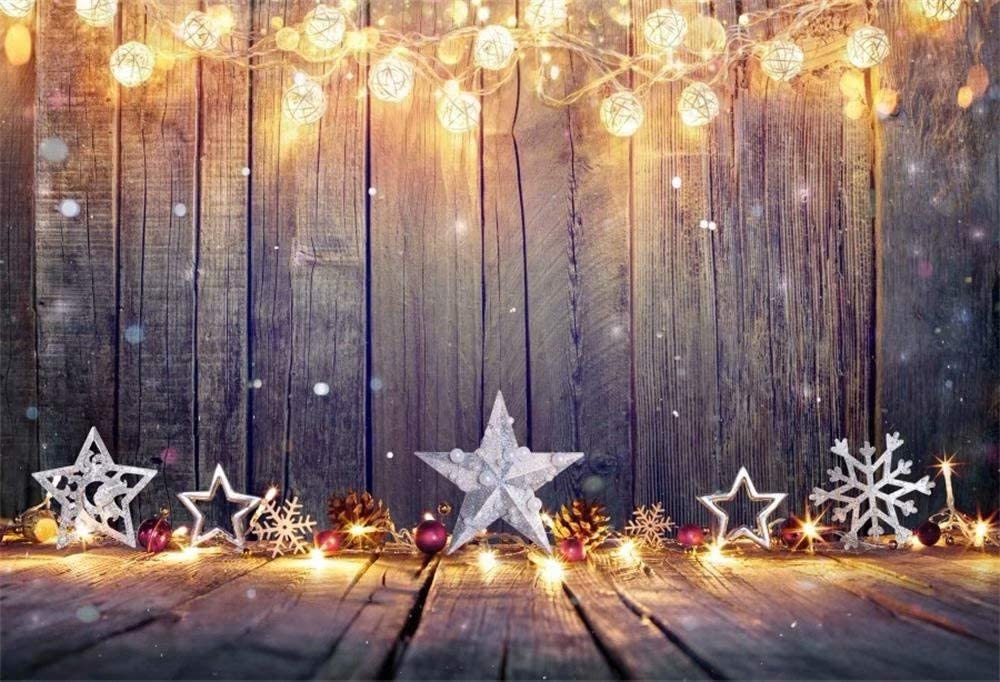 DaShan 14x10ft Rustic Wood Christmas Backdrop Snowflake Gold Glitter Christmas Wooden Wall Photography Background String Lights Pine Cone Xmas Decoration for Kids Portrait Photo Studio Props