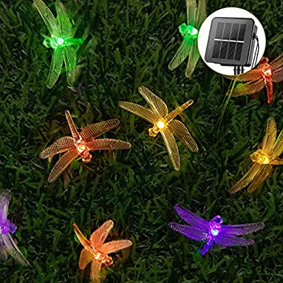 Dragonfly Solar String Lights Outdoor 20.8FT 30 LED Waterproof Solar Powered Fairy Lights, 8 Modes Decorative Lights for Patio Garden Yard Fence Wedding Christmas Party, Multicolor