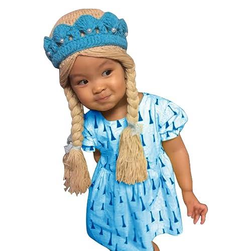 1f423c40ab7 Justkiddings Elsa Frozen Disney Costume Crochet hat Wig Hair Tiara Baby  Girl with Two Braids(
