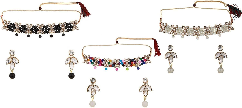 Efulgenz Indian Bollywood Traditional 14 K Gold Plated Crystal Kundan Pearl Beaded Wedding Temple Tassel Choker Necklace Earrings Jewelry Set