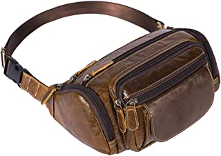 Men's Genuine Leather Fanny Pack - Multipurpose Waist Bag Cell Phone Money Pouch Bum Bag Wallet Outdoor Work Fishing Shopping Lumbar Pack Zhhlaixing