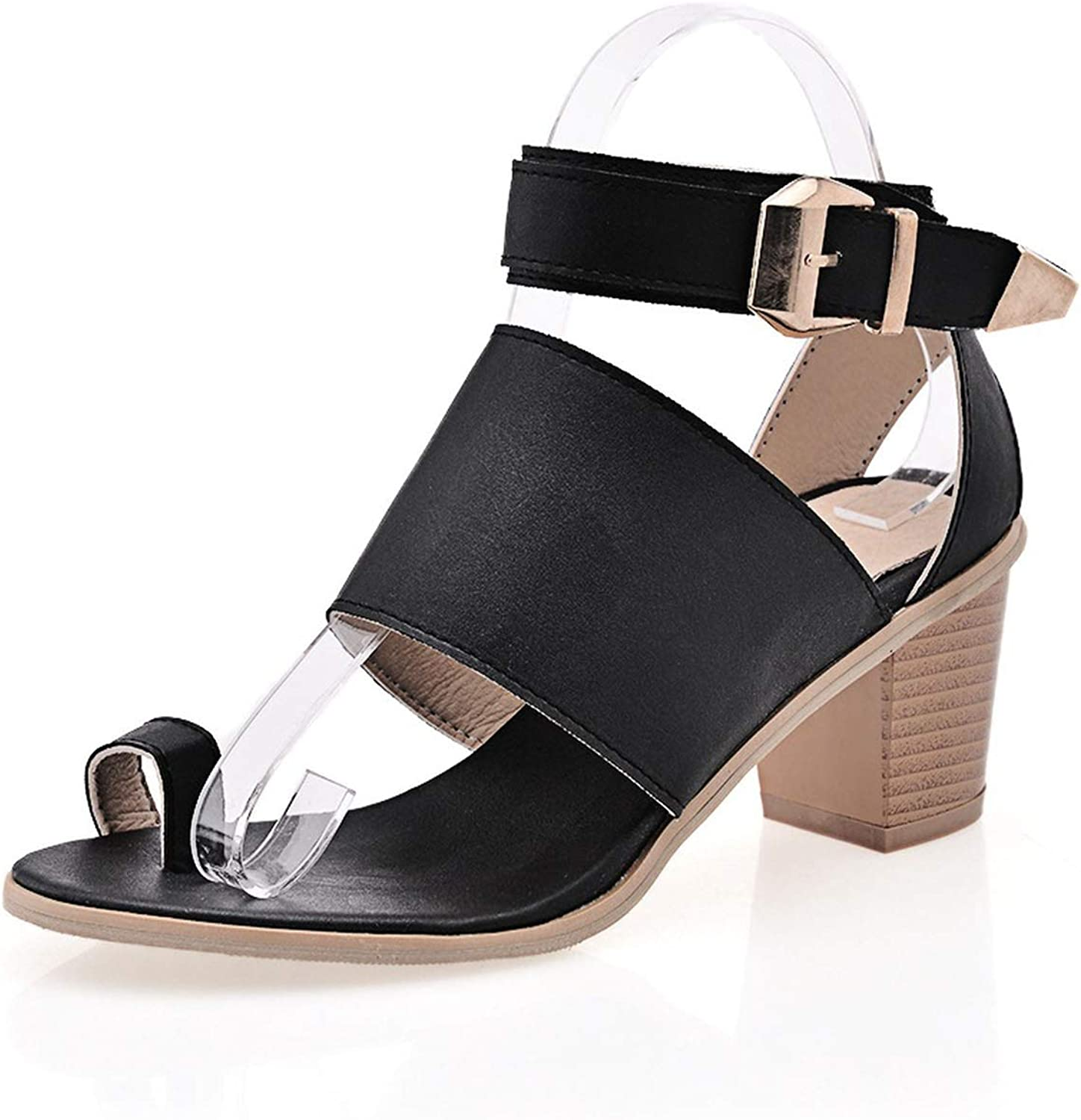 Summer Buckle Women Sandals Thick High Heels Leather Casual shoes