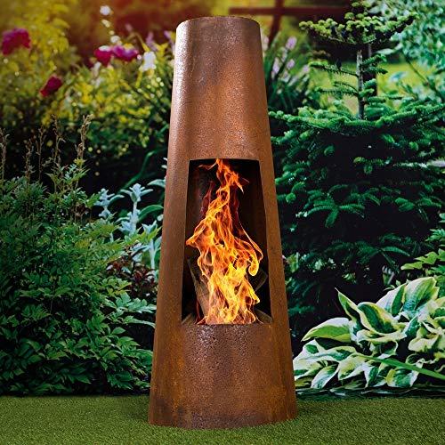 Haushalt International Feuerstelle aus Metall Rostoptik 100 cm Feuersäule Terrassenfeuer Feuerkorb Terrassenofen Gartenkamin Feuerschale