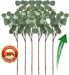 LASPERAL 6 Pcs Artificial Eucalyptus Leaves Branches Faux Silk Eucalyptus Stems Silver Dollar Eucalyptus Leaf Spray Greenery for Wedding Home Decor (34.5 inches)
