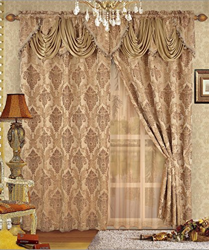 Fancy Collection Luxury Embroidered Curtain Set Gold Drapes with Backing & Valance & Tie Backs New # B-438