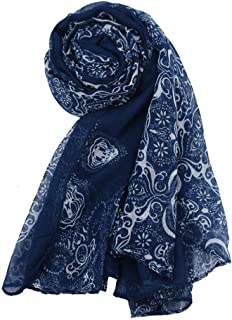 NJTSXLM Women's Scarves, Charming Scarf Women Lady Classical Print Scarf Scarves Sun Protection Gauze Kerchief Shawls and Scarves Foulard Femme Gift (Color : Navy)
