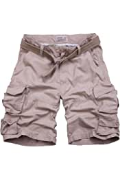 Andopa Mens Plus Size Straight-Fit Solid Short Pants Casual Cargo Work Pant