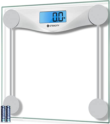 Etekcity Digital Body Weight Bathroom Scale, Large Blue LCD Backlight Display, High Precision Measurements,6mm Temper...