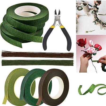 Kit d'outils d'arrangement floral, ruban floral vert, marron, calibre 26 et coupe-fil floral, pour bouquet de fleurs, fournitures florales de mariage