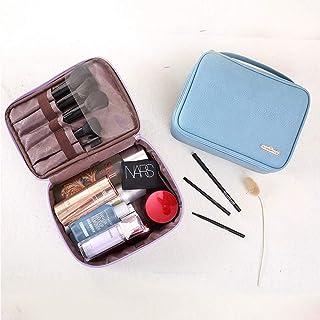 レザーコスメティックバッグ、ジュエリー/化粧品収納ボックストラベルボックストレイン化粧ポーチポータブルレザージュエリーボックス防水化粧ポーチ,Blue
