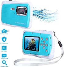 Waterproof Digital Camera Kids with Free 16GB Memory Card, Kids Underwater Camera 21MP HD Underwater Action Camera Camcorder 2.0 inch LCD Screen, 8X Digital Zoom