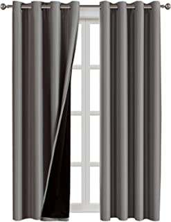 100% Blackout Curtains for Living Room Double Layer Faux Silk Curtains Room Darkening Thermal Insulated Energy Saving Grommet Window Treatment Panels (Grey, 52 by 108-inch)
