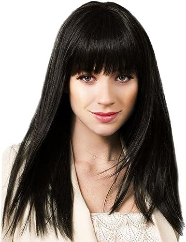 Sharplace Weißliche natürlich glatt lange Perücke Schwarzvolle Perücken aus Menschliche Haare Cosplay Wig