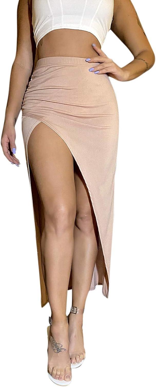 SheIn Women's Elastic Waist Ruched Wrap Asymmetrical Slit Long Bodycon Maxi Skirt