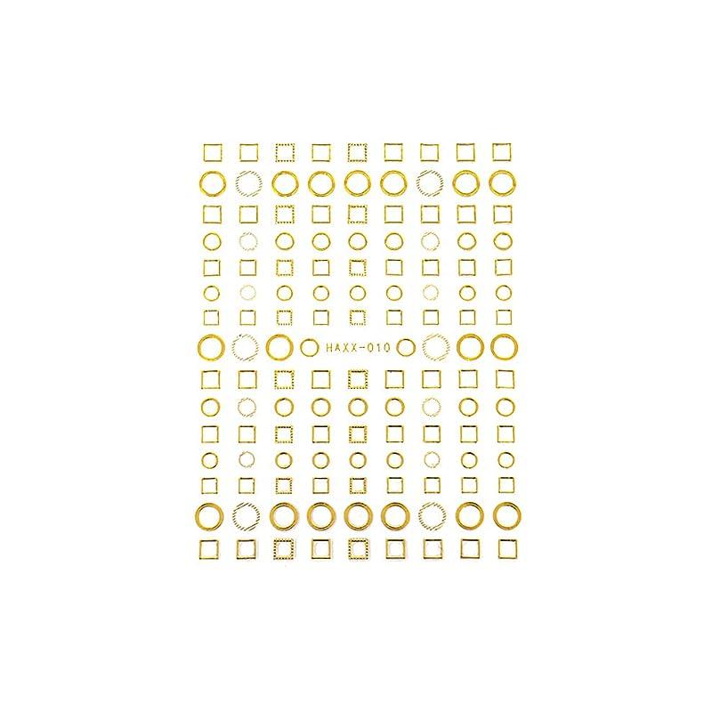 区別バルセロナ軍隊パーツ サークル ラウンド スクエア フレーム くり抜き ネイルシール フレームコレクションシール ゴールド【HAXX-010】