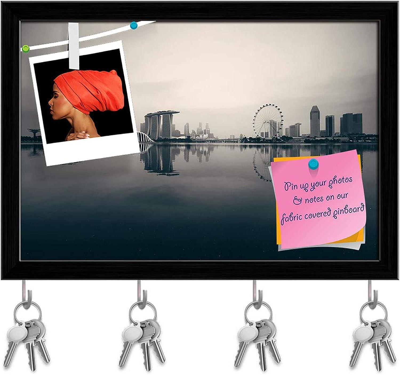 Artzfolio Singapore Skyline Key Holder Hooks   Notice Pin Board   Black Frame 17.5 X 12Inch