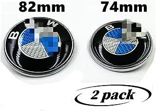 Emblems Hood and Trunk Blue Carbon Fiber Pattern Emblem Logo Replacement 82mm + 74mm for M Power Performance E30 E36 E46 E34 E39 E60 E65 E38