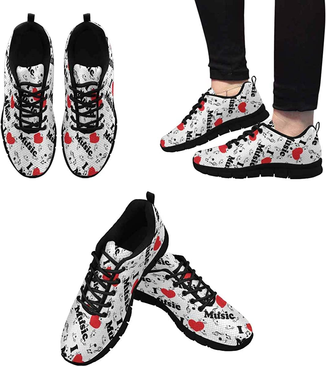 INTERESTPRINT Heart and Color Notes Women's Athletic Mesh Breathable Casual Sneaker