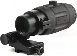 TAC Vector Optics Rubber Armored 3X Magnifier Holographic Red Dot Sight Scope Flip to Side QD Weaver Mount Color Black