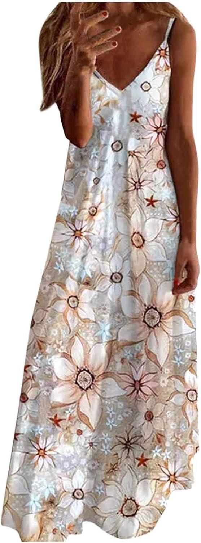 KYLEON Dress for Women,Women Sleeveless Maxi Dresses Sexy Casual Summer Floral V-Neck Sundress Beach Party Long Dresses