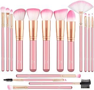 Makeup Brushes Set ALLFY 16 Pcs Premium Synthetic Fiber Professional Kabukit Brushes Set Powder Cream Liquid Foundation Eyeshadow Eyeliner Lip Concealer Pink Wood Handle