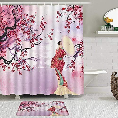Juego de cortinas de ducha de 2 piezas con alfombra de baño...