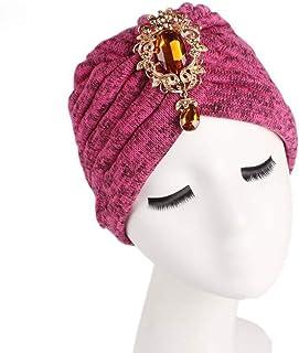 MoreChioce Arabe Turbante Cappello con Strass,Traspirante Headwear Berretto Turbante Moda Hijab Comodo Turbante Head Wrap ...