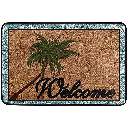 KDU Fashion Alfombrilla De Piso,Alfombrilla De Entrada Playa Coconut Palm Tree Bienvenido Felpudo De Puerta Exterior Intercalado De Algodón Intercalado Tejido De Poliéster, 40X60 Cm