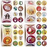2000 Pieces 1 Inch Teacher Reward Motivational Stickers Animal Cartoon Motivational Stickers Fun Motivational Stickers for Children, 4 Rolls 32 Styles Labels