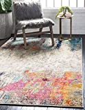 Unique Loom Chromatic Collection Modern Colorful & Vibrant Abstract Area Rug for Any Home Décor, 9' 0 x 12' 0 Rectangular, Beige/Pink