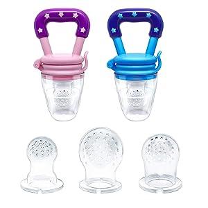 BBNJBABY Baby Fresh Fruit Food Feeder Toy Teether, Infant Fruit Teething Toy, Fresh Food Nibbler 2 Packs