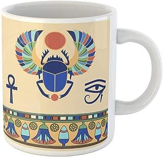 Semtomn Funny Coffee Mug Pattern Scarab Egyptian Icons Vector Illustration Lotus Egypt Ancient Beetle 11 Oz Ceramic Coffee Mugs Tea Cup Best Gift Or Souvenir