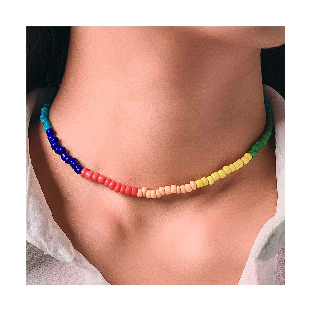 Mosako Boho Choker Rainbow Small Seed Beaded Necklaces Short Glass Beads Necklace Chains Surfer Fashion Dainty Delicate Handmade Hawaii Necklace Jewelry for Women and Girls
