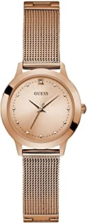 GUES Rose Gold-Tone Stainless Steel Bracelet Watch with Black Genuine Diamond Dial. Color: Gold-Tone (Model: U1197L6)