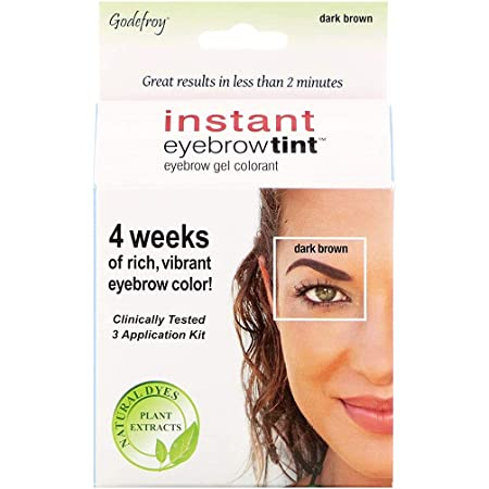 Godefroy Instant Eyebrow Tint Botanicals 3 Applications Included, Dark Brown, 1 Count