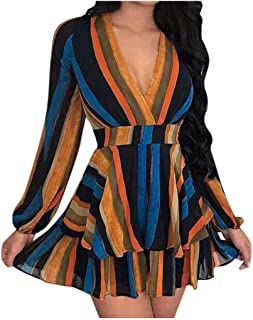 Ultramall Women's Fashion Long Sleeve V-neck Rainbow Striped Panel Slim Fit Dress A-Line Skirt