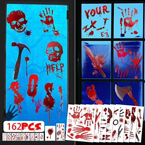 162 PCS Halloween Decorations Bloody Window Clings Handprint Footprint Tattoo Stickers for Halloween product image