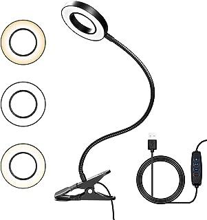 LED Lámpara Lectura con Flexo Pinza,8W Luz Lectura 3 Modos Cuidado Ocular y Brillo Ajustable,360° Flexible con USB Regulab...
