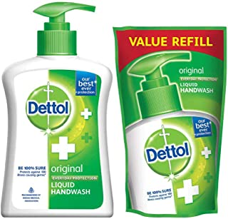 Dettol Liquid Handwash (Original) - 200 ml with Free Dettol Liquid Handwash Refill- 175 ml