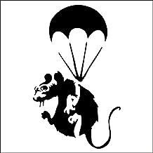 """Muisgat """" KLEINE BANKSY RAT PARATROOPER """" Plinten Muur Sticker Vinyl Decal """" 10 cm x 10 cm"""