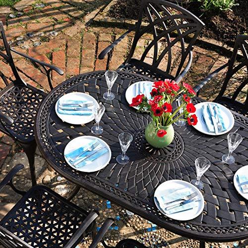 Lazy Susan - Table Ovale 150 x 95 cm June et 6 chaises de Jardin - Salon de Jardin en Aluminium moulé, Blanc (chaises Kate)