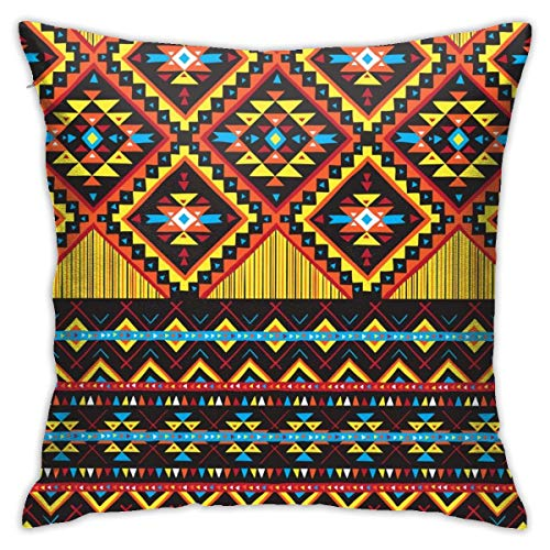 Moshow Pillowcases Cushion Covers decoration Bark Hand Drawn Tribal Colorful Geometric on the Sofa car bed 45X45 CM