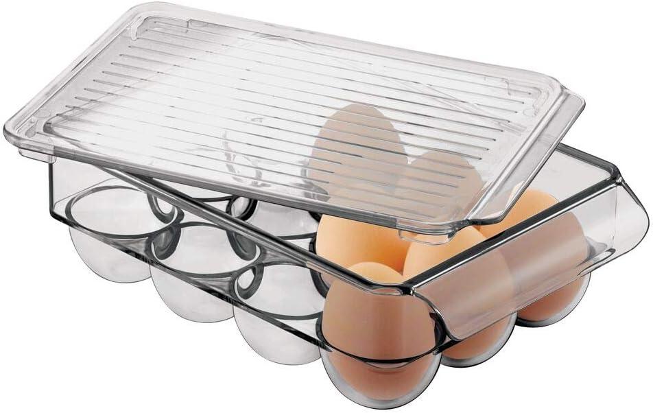 mDesign Caja para huevos de plástico para la nevera – Envase para huevos grande con capacidad para 12 huevos – Organizador de cocina apilable con tapa – gris humo