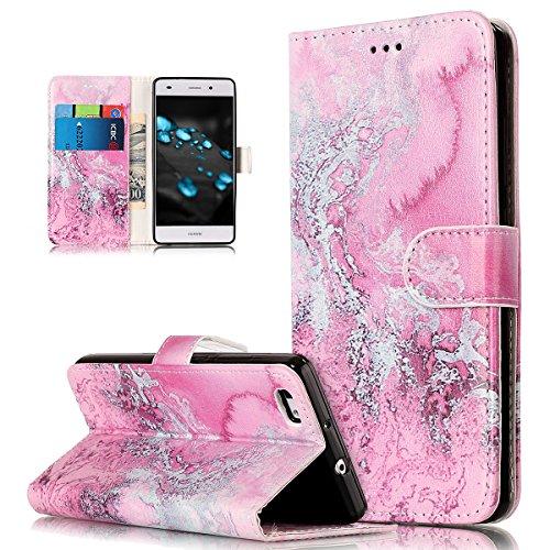 Coque Huawei P8 Lite Etui,Papillon Fleur Marbre Dreamcather Couleur peinte Etui Housse Cuir PU Portefeuille Flip Wallet Coque Étui Poches Case Coque Housse pour Huawei P8 Lite,Vague rose
